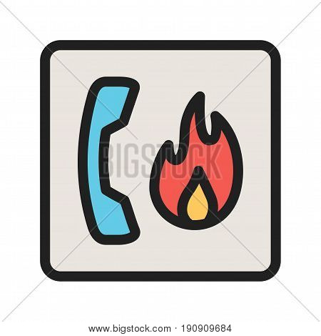 Call, fire, safety icon vector image. Can also be used for firefighting. Suitable for use on web apps, mobile apps and print media.