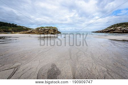 Atlantic Sandy Beach In Galicia Spain.