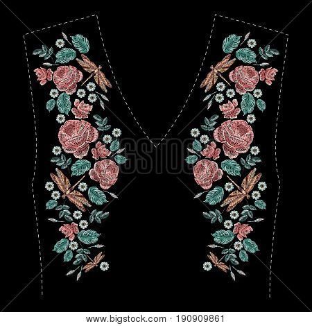Embroidered composition with roses, wildflowers, leaves and dragonfly. Satin stitch embroidery floral design on black background. Folk line trendy pattern for clothes neckline, dress decor