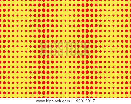 Red Dots On A Yellow Background. Pop Art Pattern. Vector Illustration