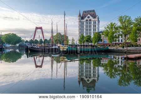 Rotterdam city cityscape skyline with The Witte Huis (White House) and Willemsbrug bridge, Oude Haven, South Holland, Netherlands.