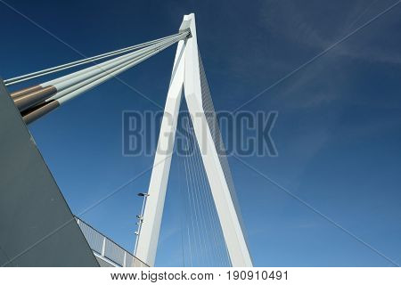 Rotterdam city cityscape with Erasmus bridge. South Holland, Netherlands.