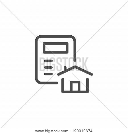 House calculation line icon isolated on white. Vector illustration