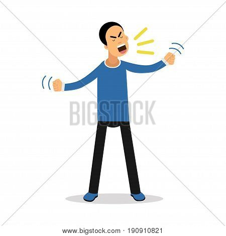 An angry screaming man, upset stressed man vector Illustration isolated on a white background