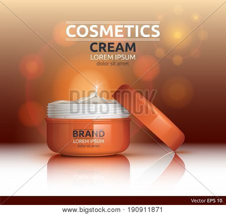 Moisturizing Cream cosmetic ads template. Hydrating face lotion. Mockup 3D Realistic illustration. Sparkling background color