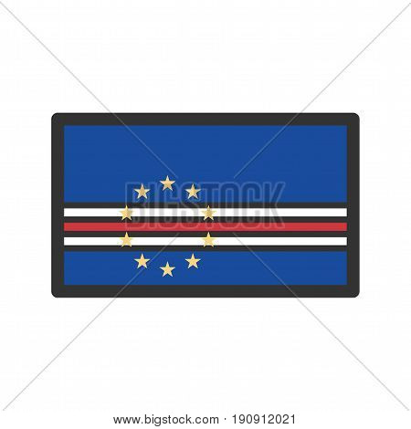 Cape Verde, flag, national icon vector image. Can also be used for flags. Suitable for web apps, mobile apps and print media.