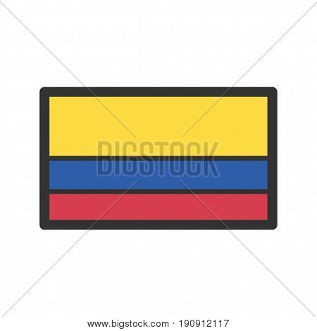 Colombia, flag, national icon vector image. Can also be used for flags. Suitable for web apps, mobile apps and print media.