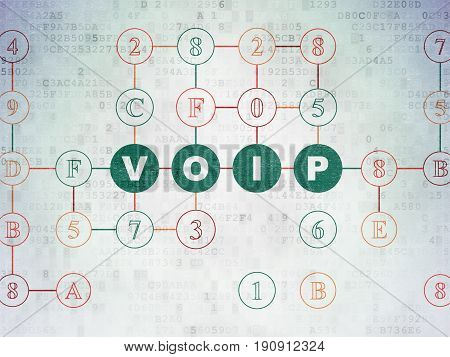 Web development concept: Painted green text VOIP on Digital Data Paper background with Hexadecimal Code