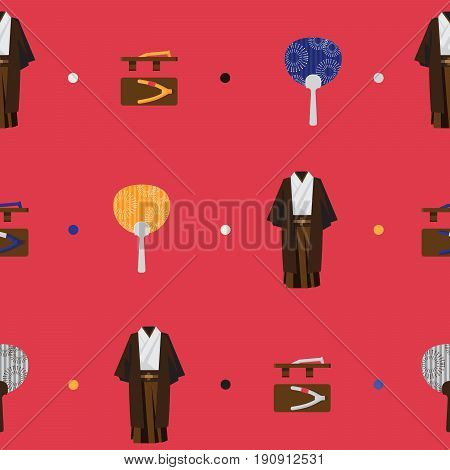 Vector seamless bright pattern with japanese fashion flat objects. Man kimono wooden traditional geta round fan utiva on red background. Accessories used for japanese street fashion cosplay