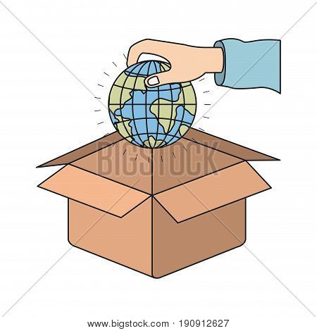 colorful silhouette hand holding a globe earth world to deposit in cardboard box vector illustration