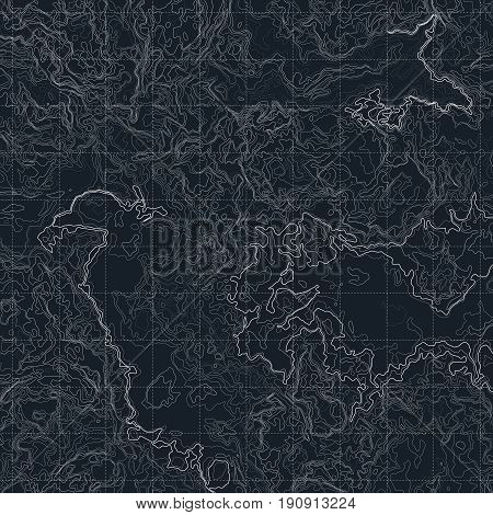 Color map with line contour for hiking. Geographic topographic vector illustration. Topography terrain map for hiking