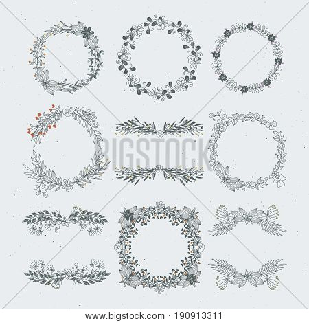 Different vector floral frames from branches. Decorative nature ornaments. Branch decoration frame with leaf floral illustration