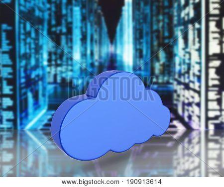 Cloud Sign Illustration In Blue On Information Background 3D