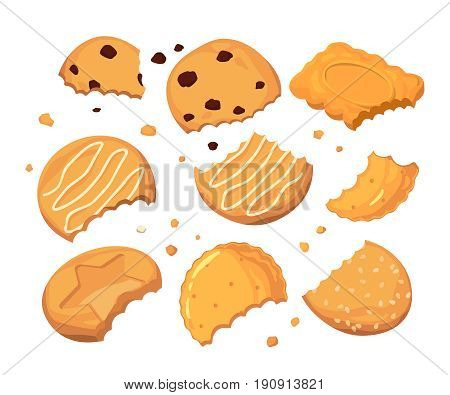 Traces from stings on the cookies and different small crumbs. Cartoon vector illustration set. Crumb cookie and sweet snack dessert biscuit with chocolate