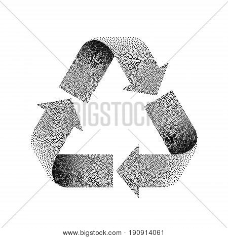 Recycle sign. Stipple vector textured illustration on white background.