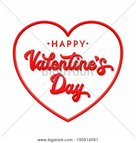 3d letters Happy Valentines day. Lettering inscription isolated on white background. Celebrating greeting card or banner with red heart shaped frame. Font vector illustration.