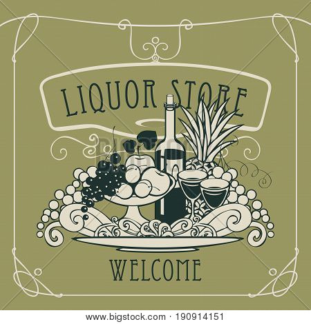 Vector banner for liquor store with a picture of a hand with a tray on which is a still life with two glasses of wine bottle and fruits in an Art Nouveau style with a curly frame.