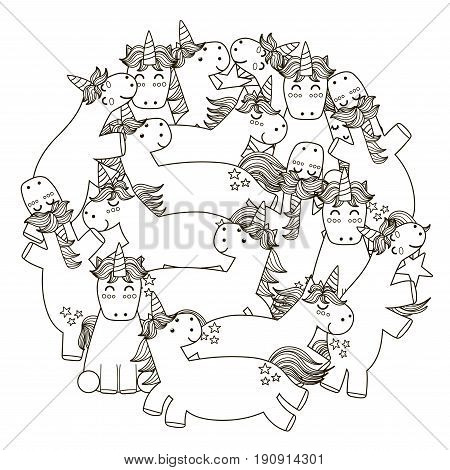 Circle shape pattern with cute unicorns for coloring book. Vector illustration