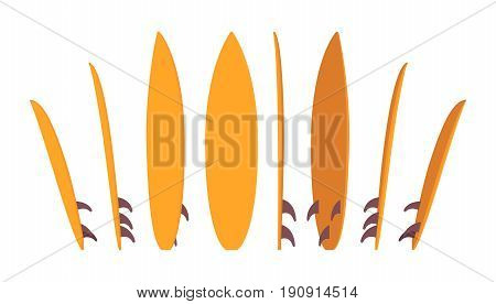 Surfboard set, surfing summer water sport, board for wave riders and athletes, standing in different positions, bright color. Vector flat style cartoon illustration, isolated, white background