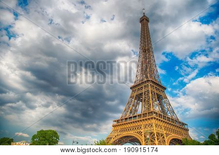 Eiffel Tower At Sunset In Paris, France. Hdr> Romantic Travel Background.