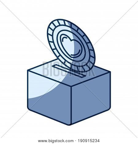 blue color silhouette shading of flat coin with heart symbol inside depositing in a carton box vector illustration