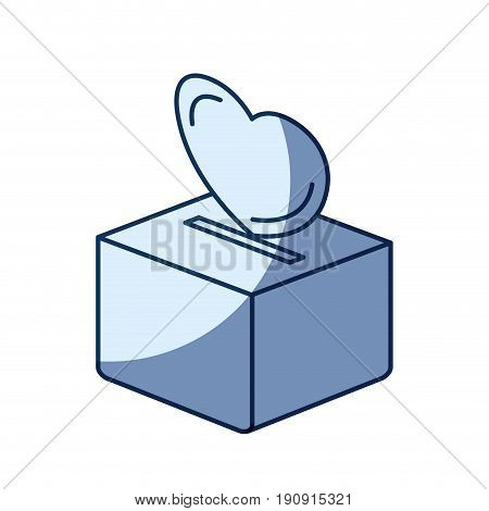 blue color silhouette shading of flat heart depositing in a carton box vector illustration