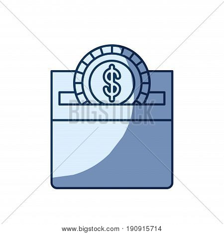 blue color silhouette shading of front view flat coin with dollar symbol depositing in a carton box vector illustration