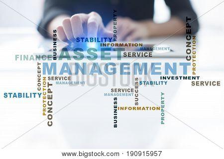 Asset management words cloud. Business technology concept.