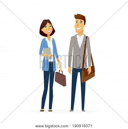 Business People - colored vector flat design composition of cartoon characters. Male and female holding briefcases. Communication, responsibility, efficiency, success.