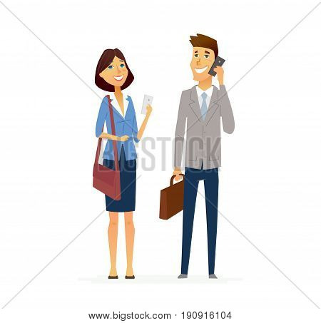 Business Couple - colored vector flat design composition of cartoon characters. Male and female holding briefcases and cellphones. Responsibility, efficiency, success.