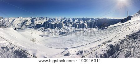 panoramic landscape on the ski slopes in french Alps