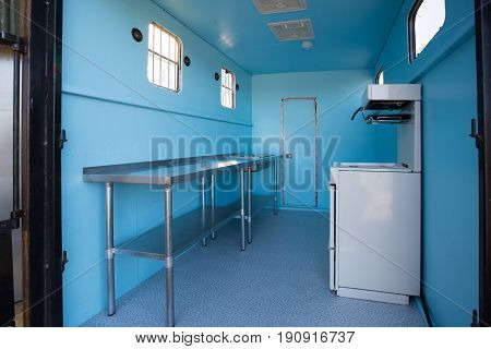 Interior Of An Commercial Catering Van
