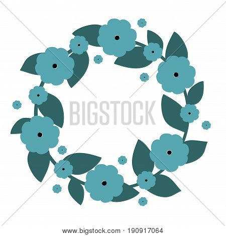 Cute wreath with blue flowers. Vector wreath. Vector illustration.