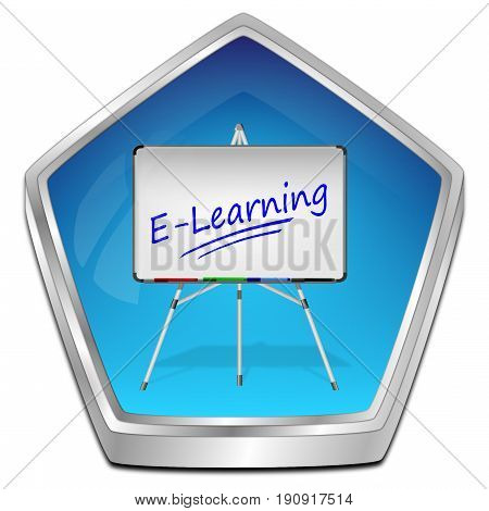 glossy blue E-Learning Button - 3D illustration