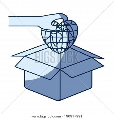blue color silhouette shading of hand holding a globe earth world in heart shape to deposit in cardboard box vector illustration