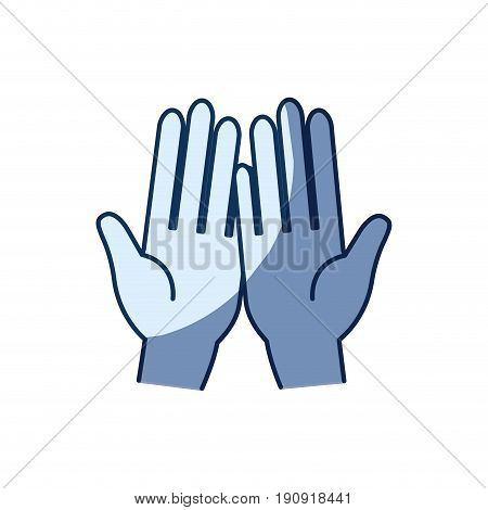 blue color silhouette shading of front view palm of hands in symbol receiving vector illustration