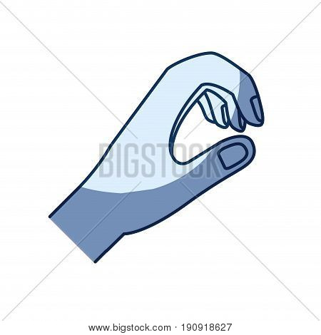 blue color silhouette shading of hand of symbol of giving vector illustration