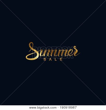 Summer sale. Vector handwritten lettering banner. Golden promotional sale label.