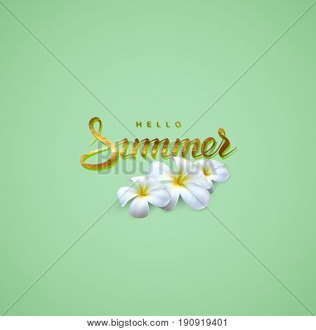 Vector typographic illustration of handwritten Summer retro label with frangipani flowers. Lettering logo with golden foil texture. Summer seasonal illustration with flowers. Postcard design