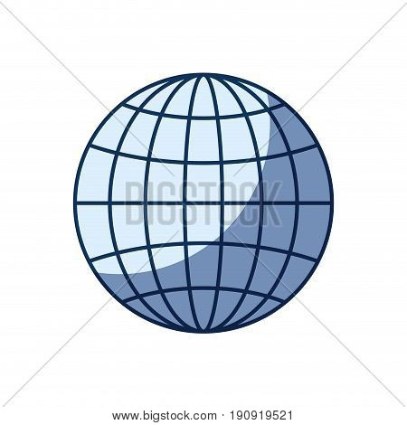 blue color silhouette shading of front view globe earth world chart with lines vector illustration