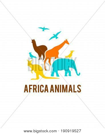 Logo of African animals. A group of animals are grouped together on a white background. Use it for a zoo or friends concept.