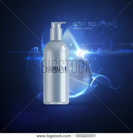 Anti wrinkles serum ads poster template. Cosmetics product. Cosmetic packaging mockup design. White bottle with water droplet and energy luminous wave. 3d vector fashion magazine illustration.