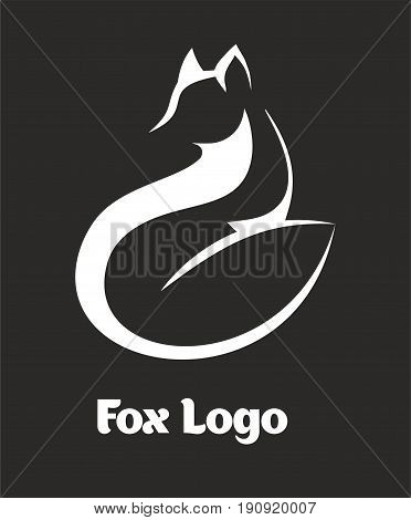 Vector logo fox. Fox sitting and looking away. Laconic symbol for icons, Logos fox, badges and emblems.