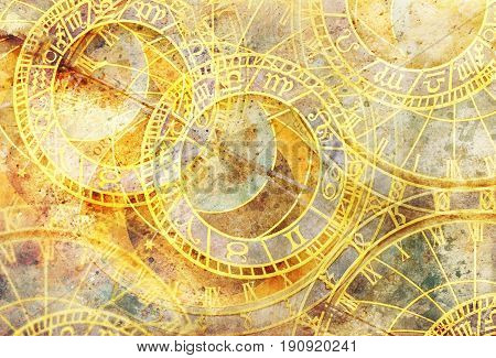 Old clock and zodiac collage. Abstract color background
