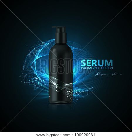 Anti aging serum ads poster template. Cosmetics product. Cosmetic packaging mockup design. Black bottle with shiny light rays and wave of particles. 3d vector fashion magazine illustration.