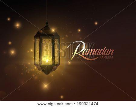 Ramadan Kareem. Vector illustration of handwritten Ramadan Kareem retro label and glowing arabic lantern. Muslim holy month Ramadan postcard design