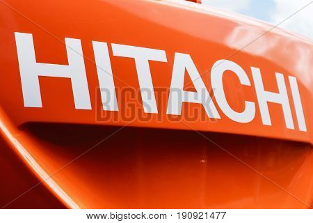 Moscow, Russia - may 30, 2017: group name Hitachi on the front of the car exhibition international specialized exhibition construction equipment and technologies CTT in Moscow.