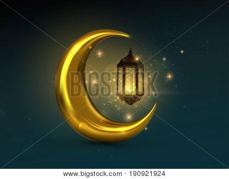 Ramadan Kareem. Vector 3d islam religious illustration of glowing arabic lantern, shiny particles and golden crescent moon. Muslim holy month Ramadan postcard design