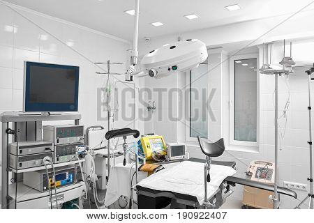 Shot of a gynecological room with medical equipment medicine healthcare gynecology concept.
