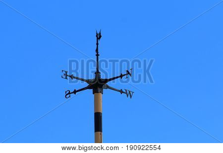 Cardinal direction points in blue sky background